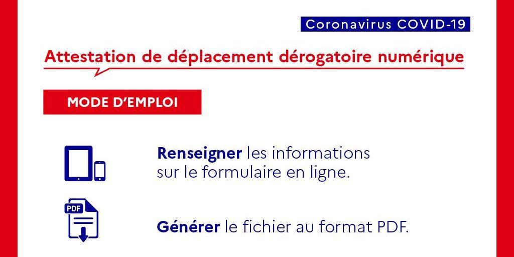 PANDÉMIE COVID-19 : Attestation de déplacement au format numérique